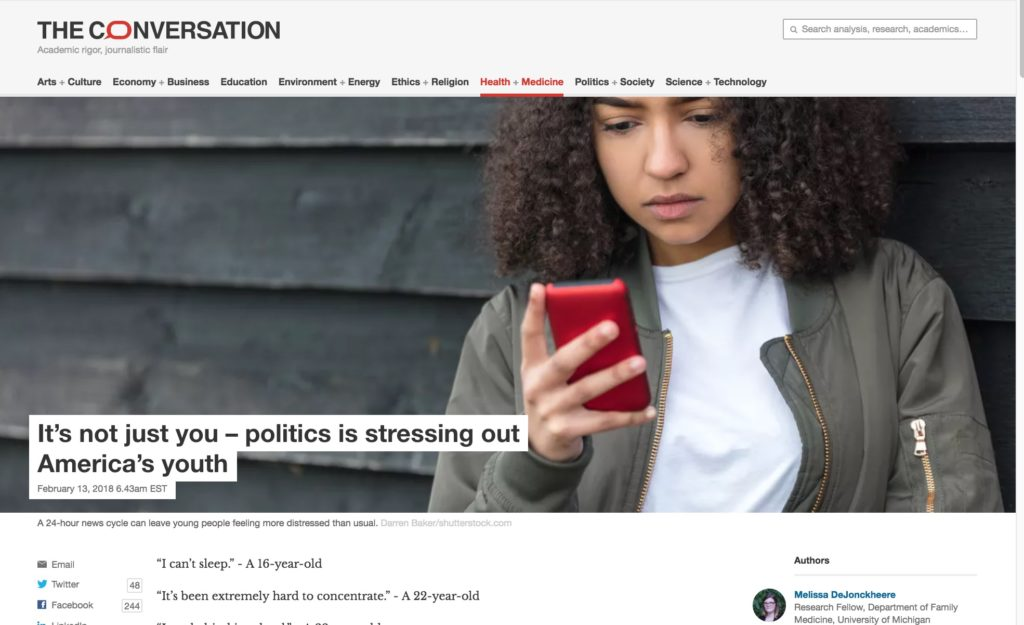 Screenshot of the Conversation article titled It's not just you – politics is stressing out America's youth