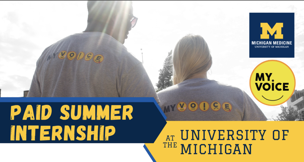 paid summer internship at the university of michigan myvoice flyer header