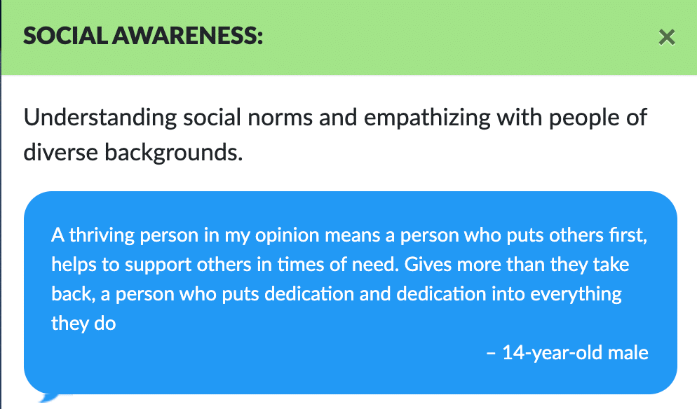 SOCIAL AWARENESS: × Understanding social norms and empathizing with people of diverse backgrounds. A thriving person in my opinion means a person who puts others first, helps to support others in times of need. Gives more than they take back, a person who puts dedication and dedication into everything they do – 14-year-old male
