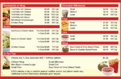 Menu nutrition information Image