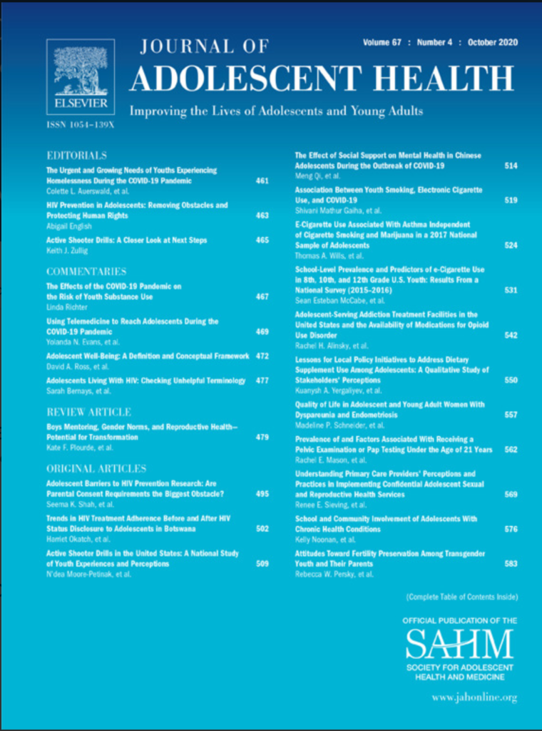 Cover of the October 2020 issue of the Journal of adolescent health