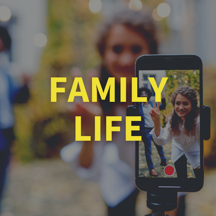 Family Life with background image of young woman taking selfie video with family member